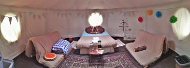 Inside a Yurt at Woodland Escape in Somerset